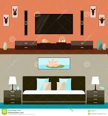 illustration in trendy flat style with room and bedroom interior