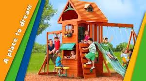 Big Backyard Swing Set Big Backyard Ridgeview Clubhouse Deluxe Wood Swing Set Toys