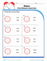 telling time five minutes worksheet education com