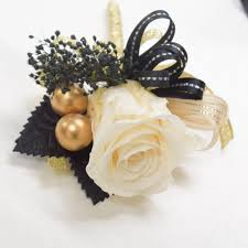 gold boutonniere boutonnieres b19 ivory gold black endura flora