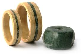 wood rings wedding maple and provided jade inlay simply wood rings