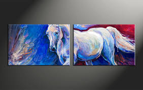 Home Decor Paintings by 2 Piece Blue Canvas Horse Wildlife Art