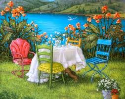 Pretty Tables by Beautiful Dreams Gardens Table Relaxing Paintings Lake Lovely
