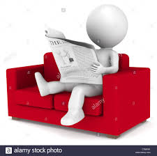 3d little human character sitting in the sofa reading the news