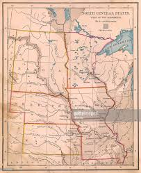 Old United States Map by Old Color Map Of North Central States From 1800s Stock Photo