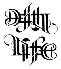 death life ambigram this is the same image one of them rotated