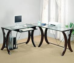 Modern Office Table With Glass Top Clear Glass Top U0026 Espresso Base Modern Home Office Desk