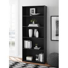 Narrow Black Bookcase by Mainstays 5 Shelf Standard Wood Bookcase Expresso Walmart Com
