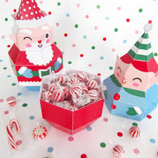 santa mrs claus and elf treat boxes prinatble paper christmas