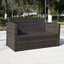 Patio Furniture Set by Costway 4 Pcs Cushioned Wicker Patio Sofa Furniture Set Garden