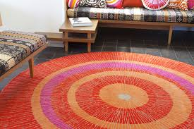district17 eccentric large rug in orange and