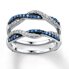 blue rings white images Blue white diamonds 1 2 ct tw enhancer ring 14k white gold jpg