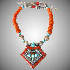tibetan necklace images Antique tibetan gau box old tibetan glass turquoise necklace jpg