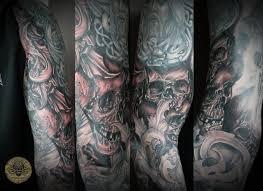 charming skull horror viking military sleeve tattoo design for