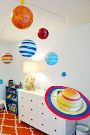 I Bought An Extra Embroidery Hoop And Cut The Rings In Half And We - Hanging solar system for kids room