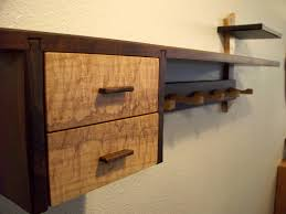 wood wall shelf with drawers