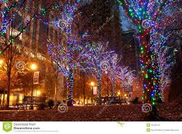 colorful holiday lights adorn trees in midtown atlanta editorial