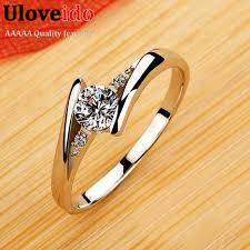 crystal silver rings images Wedding rings for women crystal silver plated cz diamond jewelry jpg