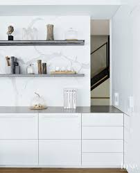 modern white kitchen vignette with open shelving luxe interiors