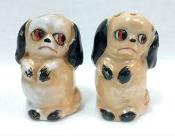 novelty salt and pepper shakers vintage german lusterware sad pouting puppy dogs on hind legs