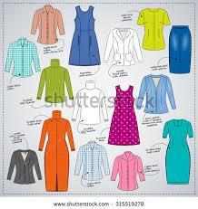 vector set fashionable hand drawn dresses stock vector 257378692