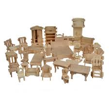 1set 34pcs bohs wooden doll house dollhouse furnitures jigsaw