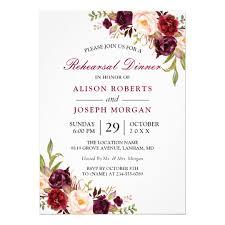 floral wedding invitations burgundy floral wedding rehearsal dinner card zazzle