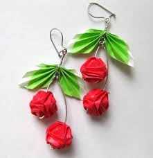 origami earrings origami cherry earrings by pandacub143 on deviantart