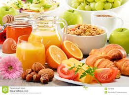 composition with breakfast on the table balnced diet stock photo