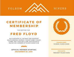 orange mountaineering membership certificate templates by