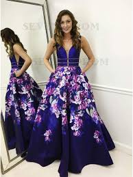 dress blue buy a line the shoulder blue floral prom dress with