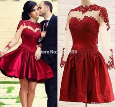 2017 burgundy short cocktail dresses long illusion sleeves a line