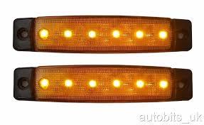 2 x 12v 12 volt led orange side marker light position truck
