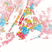 Demographics of New York City   Wikipedia Racial ethnic self identification in New York City in the year       data from Census        Each dot is    people  White Black Asian Hispanic