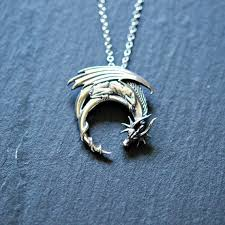 dragon necklace pendant images Sterling silver dragon necklace winged dragon on moon pendant jpg