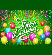 happy birthday greeting card with cake and vector image