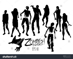 halloween silhouette background zombies invasion zombie silhouettes walking forward stock vector