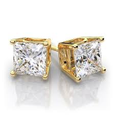 gold diamond stud earrings 25ctw14k yellow gold princess cut diamond stud earrings si1 g