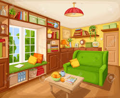 vector cozy living room interior with bookcase sofa and table
