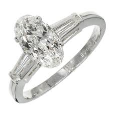 old wedding rings images Old european oval diamond baguette platinum engagement ring for jpg