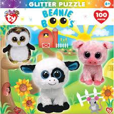 beanie boo u0027s barnyard club 100 piece glitter puzzle 705988115813