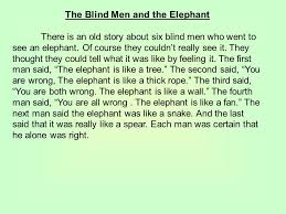 Five Blind Men And The Elephant Making Inferences Level Two Mrs Hunsaker The Blind Men And The