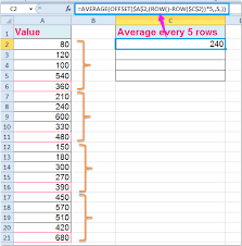 how to average every 5 rows or columns in excel