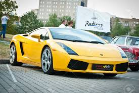 yellow lamborghini moscow russia july 31 yellow lamborghini on exhibition parking