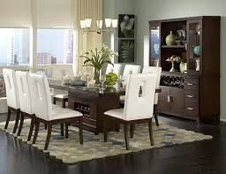 Contemporary Dining Room Tables And Chairs Modern Dining Room Sets With 1 Brown Wood Table And 8 White Chairs