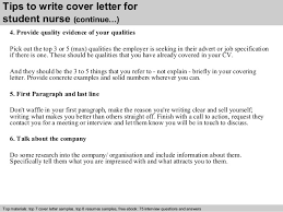 student nurse cover letter