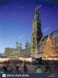 munich christmas market in marienplatz square evening