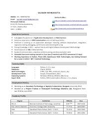 Sample Resume For Java J2ee Developer by Extraordinary Python Developer Resume 12 Resume Cover Letter