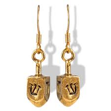 metal dreidel jewelry gold tone metal dreidel earrings