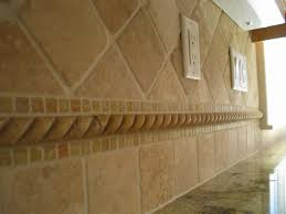 Tumbled Travertine Kitchen Backsplash On Diagonal Home - Travertine tile backsplash